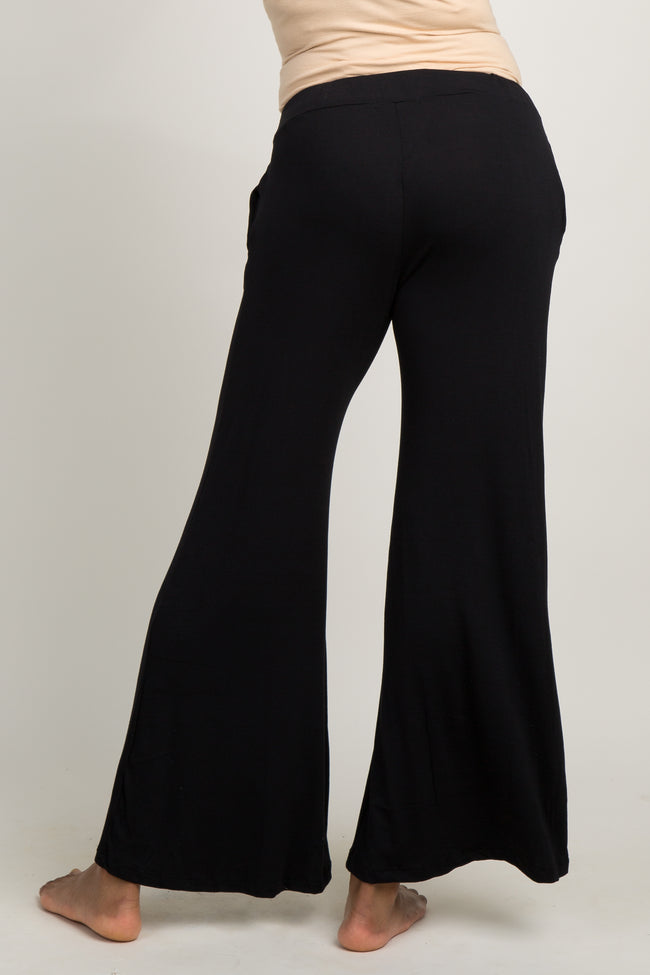 Black Tie Front Flare Hem Maternity Lounge Pants