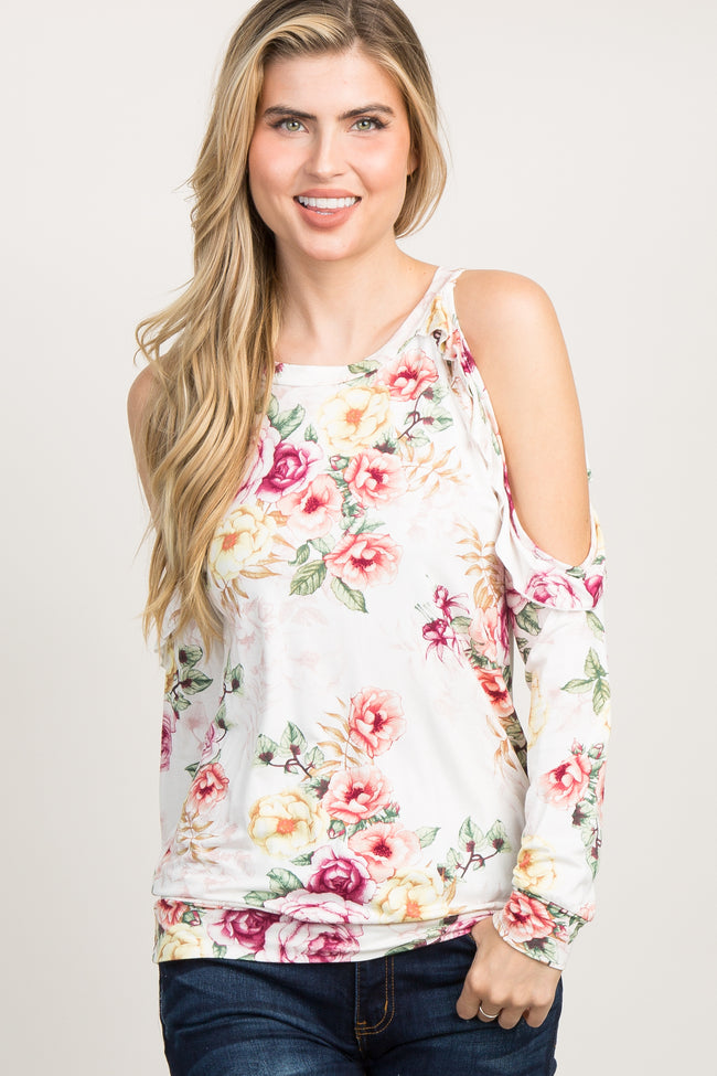 White Floral Ruffle Cold Shoulder Top