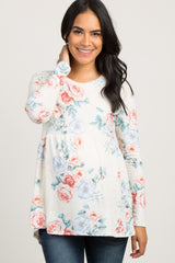 Blue Floral Long Sleeve Peplum Maternity Top