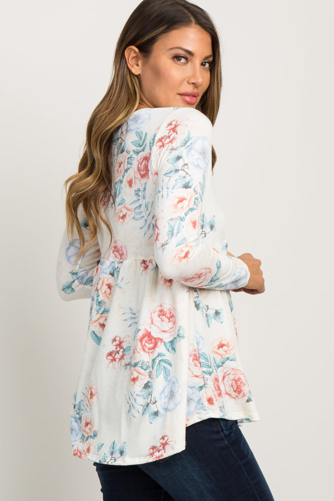 Blue Floral Long Sleeve Peplum Top