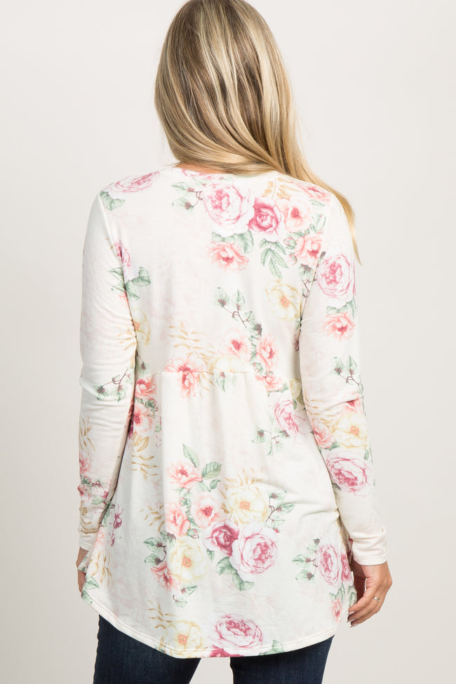 Pink Floral Long Sleeve Peplum Maternity Top
