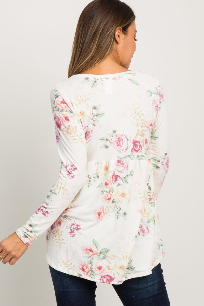 Pink Floral Long Sleeve Peplum Top