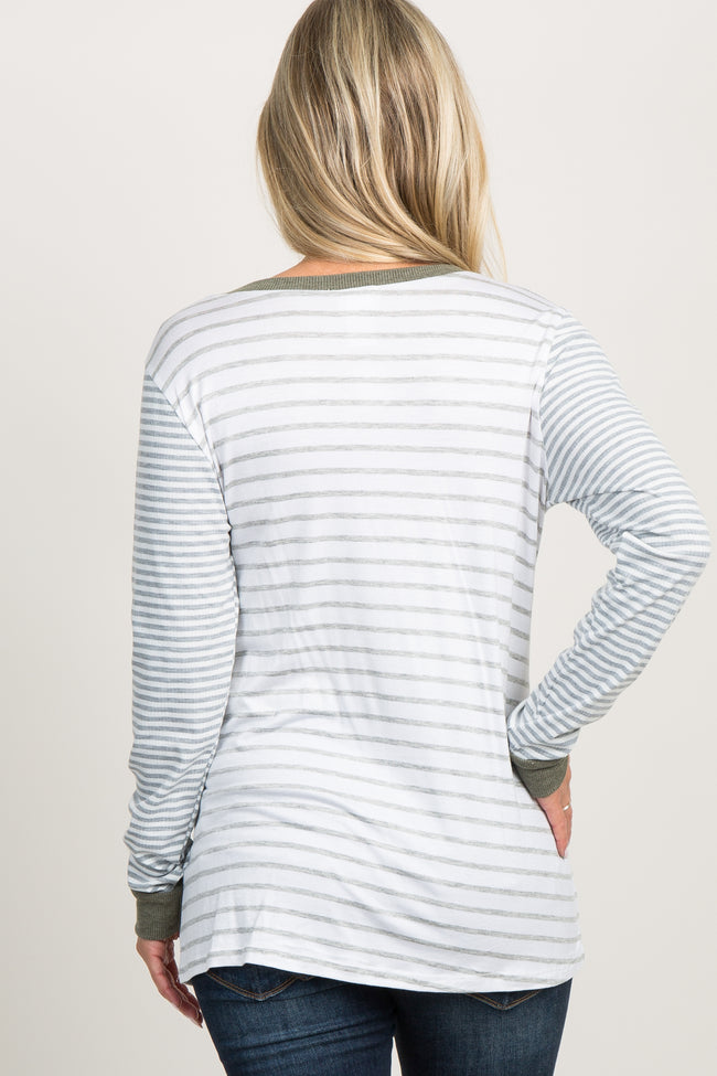 Olive Striped Colorblock Long Sleeve Maternity Top