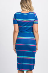 Blue Striped Colorblock Maternity Midi Dress
