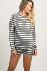 Charcoal Striped Long Sleeve Maternity Pajama Set
