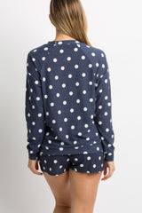 Navy Blue Polka Dot Terry Maternity Pajama Set