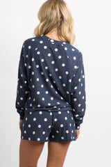 Navy Blue Polka Dot Terry Pajama Set