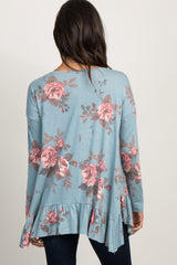 Blue Faded Floral Ruffle Trim Top