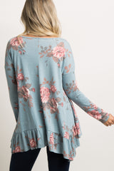 Blue Faded Floral Ruffle Trim Maternity Top