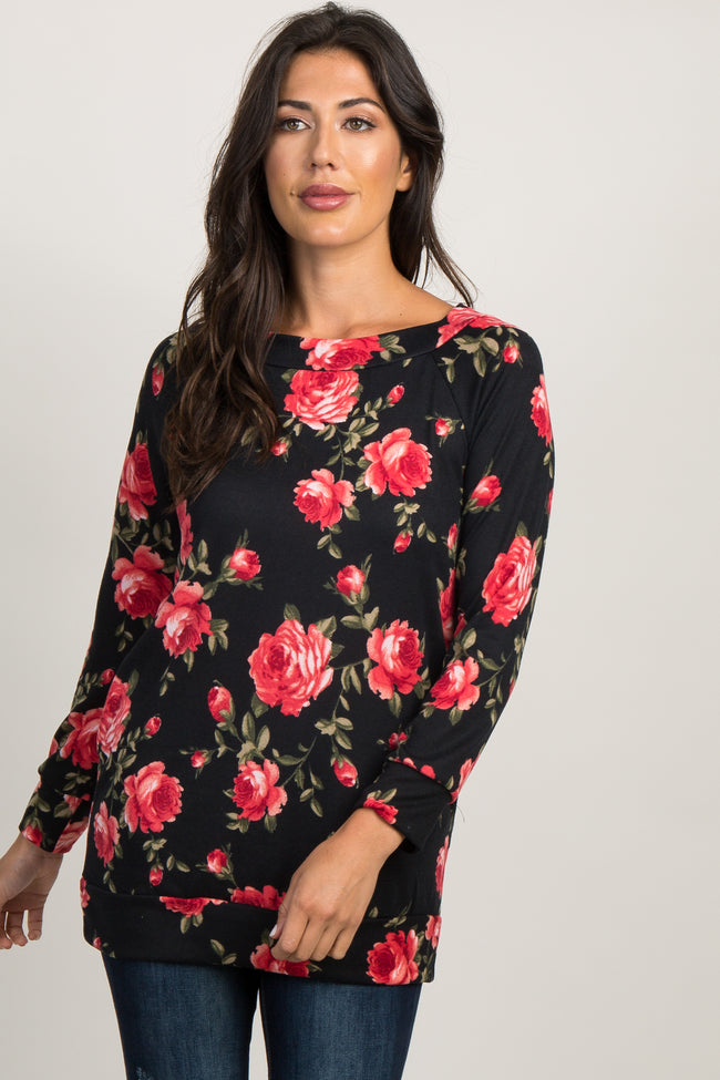 Black Rose Floral Boat Neck Sweater