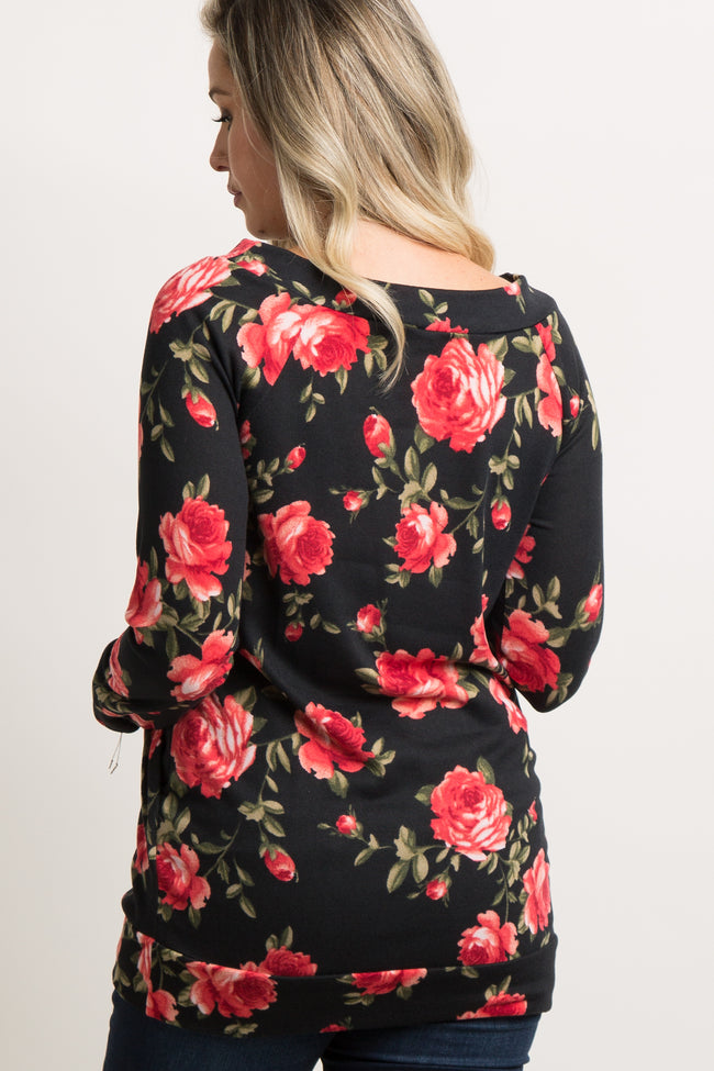Black Rose Floral Boat Neck Maternity Sweater