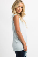 Light Blue Knotted Hem Sleeveless Top