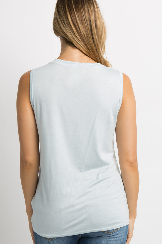 Light Blue Knotted Hem Sleeveless Maternity Top