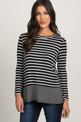Black Striped Long Sleeve Ruffle Trim Maternity Top