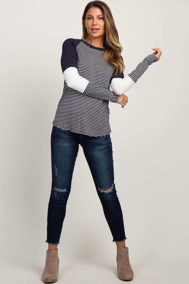 Navy Striped Colorblock Long Sleeve Top