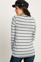 Grey Striped Knotted Top