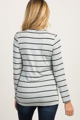 Grey Striped Knotted Maternity Top
