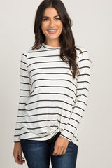 White Striped Knotted Maternity Top