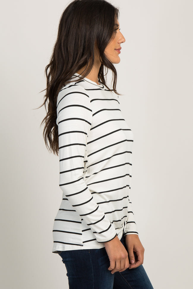 White Striped Knotted Top