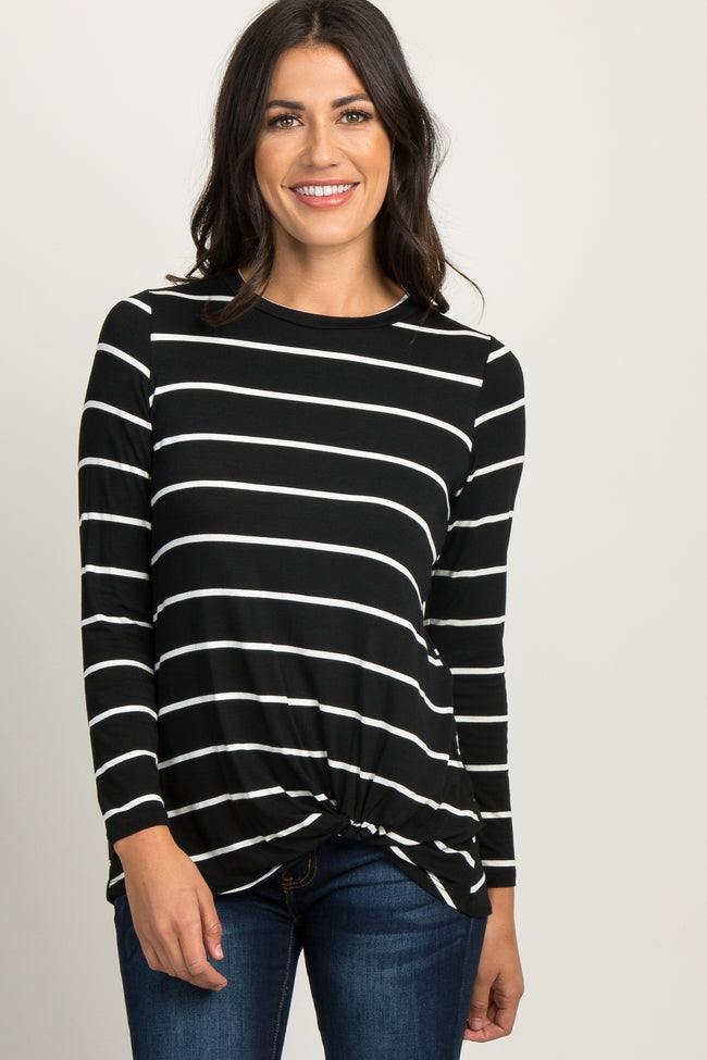 Black Striped Knotted Maternity Top
