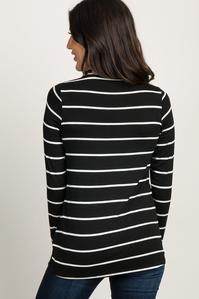 Black Striped Knotted Top