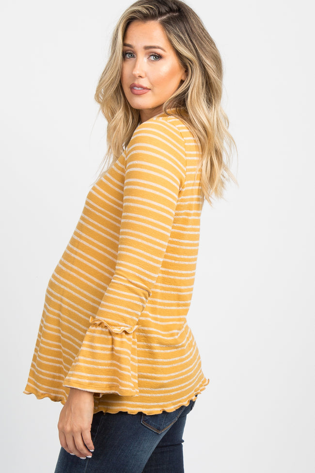 Yellow Striped Knit Bell Sleeve Maternity Top