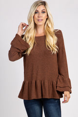 Camel Long Sleeve Ruffle Accent Knit Maternity Top