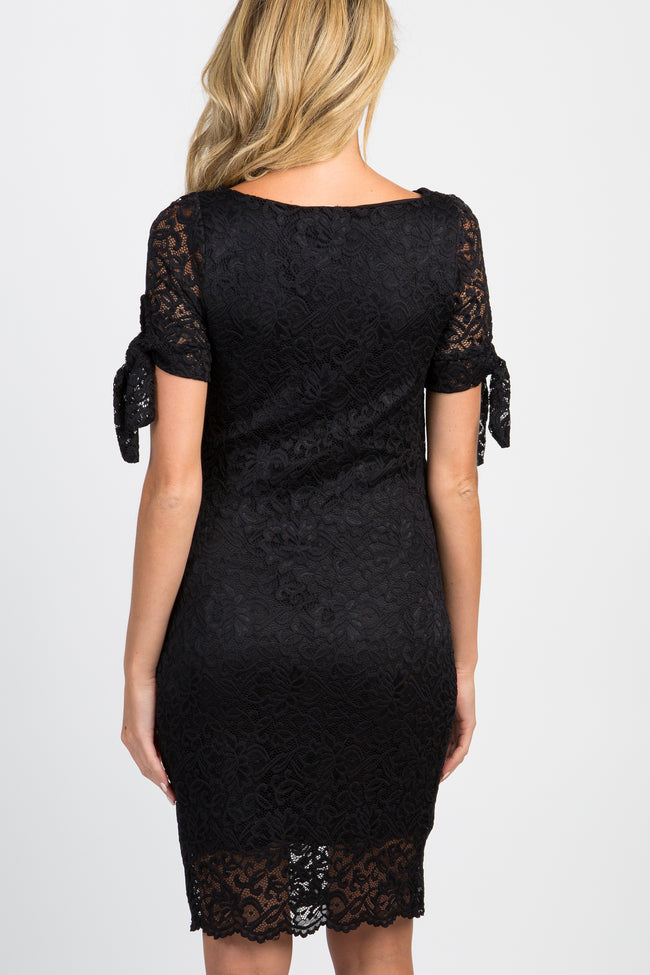 PinkBlush Black Lace Overlay Sleeve Tie Fitted Maternity Dress