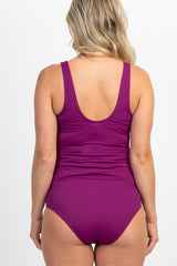 PinkBlush Purple Ribbed Front Knot One-Piece Maternity Swimsuit
