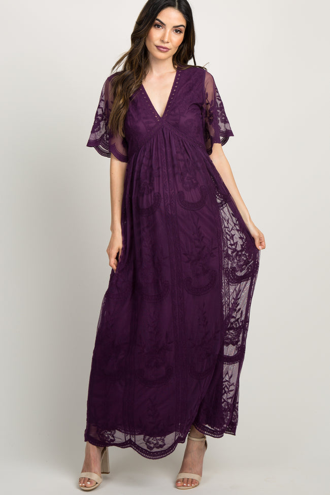 PinkBlush Plum Lace Mesh Overlay Maternity Maxi Dress