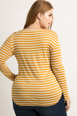 Yellow Striped Long Sleeve Plus Top