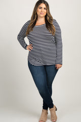 Navy Blue Striped Long Sleeve Plus Top