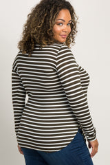 Olive Green Striped Long Sleeve Plus Maternity Top