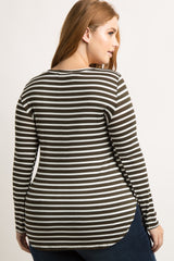 Dark Olive Green Striped Long Sleeve Plus Top