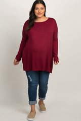 Red Solid Basic Dolman Sleeve Plus Top