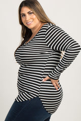 Black Striped Long Sleeve V-Neck Plus Maternity Top