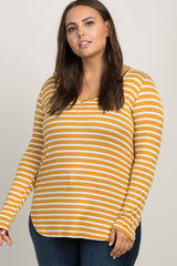 Yellow Striped Long Sleeve V-Neck Plus Top