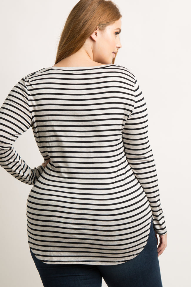 Cream Striped Long Sleeve V-Neck Plus Top