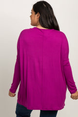 Magenta Solid Basic Dolman Sleeve Plus Maternity Top