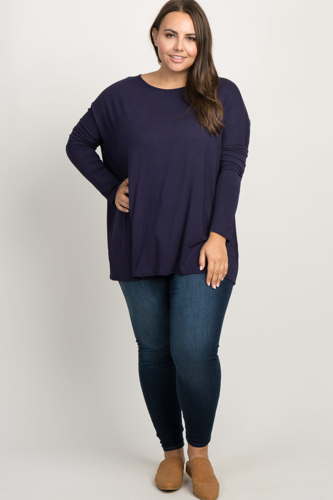 Navy Solid Basic Dolman Sleeve Plus Maternity Top