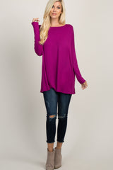 Magenta Solid Basic Dolman Sleeve Maternity Top