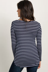 Navy Blue Striped Long Sleeve  Top