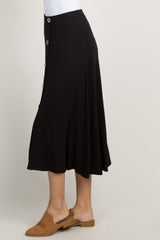 Black Solid Button Front Midi Skirt