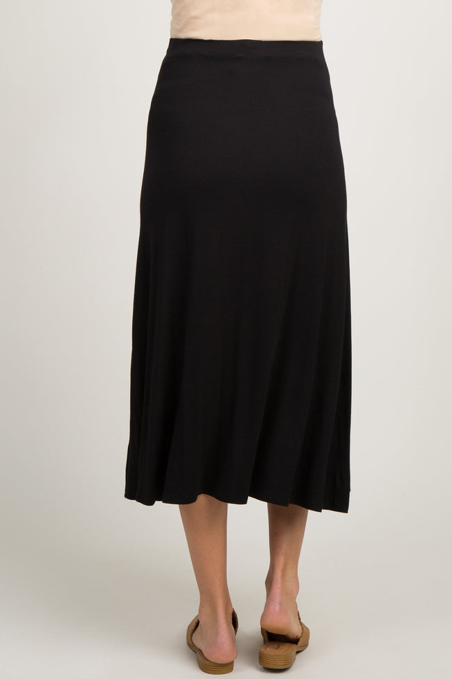 Black Solid Button Front Maternity Midi Skirt