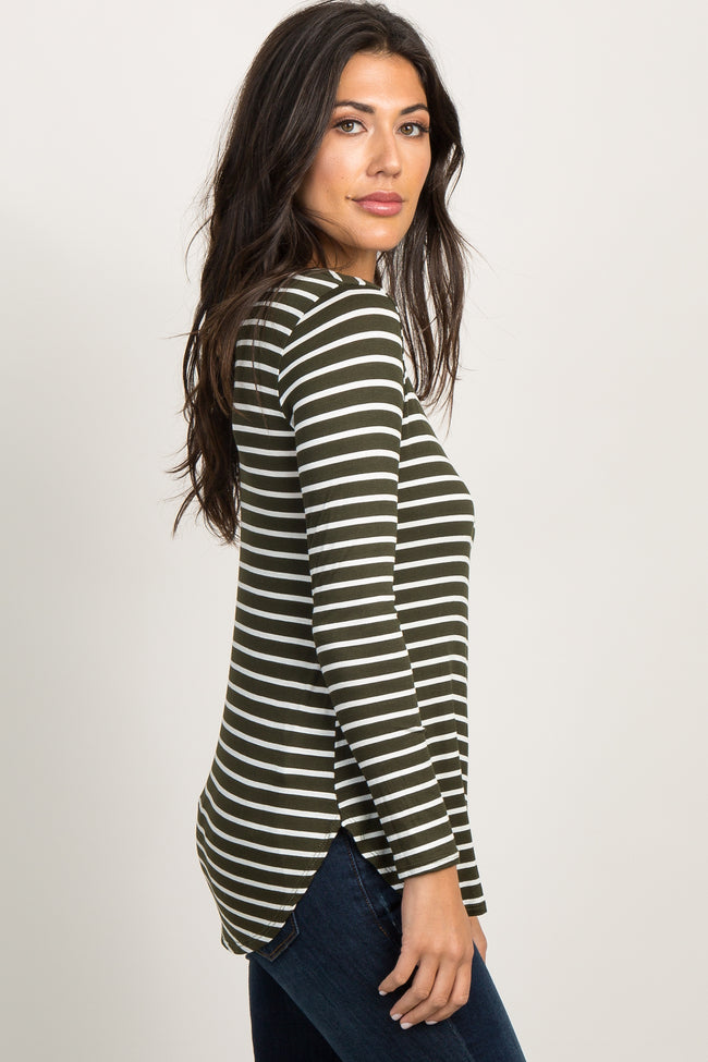 Olive Green Striped Long Sleeve Top