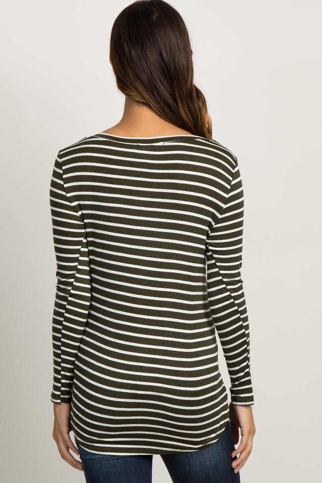 Olive Green Striped Long Sleeve Maternity Top