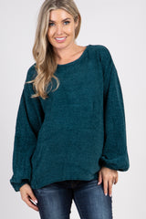 Emerald Chenille Puff Sleeve Maternity Sweater