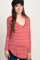 Red Striped Long Sleeve V-Neck Maternity Top