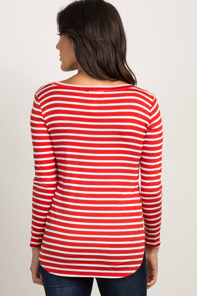 Red Striped Long Sleeve V-Neck Top