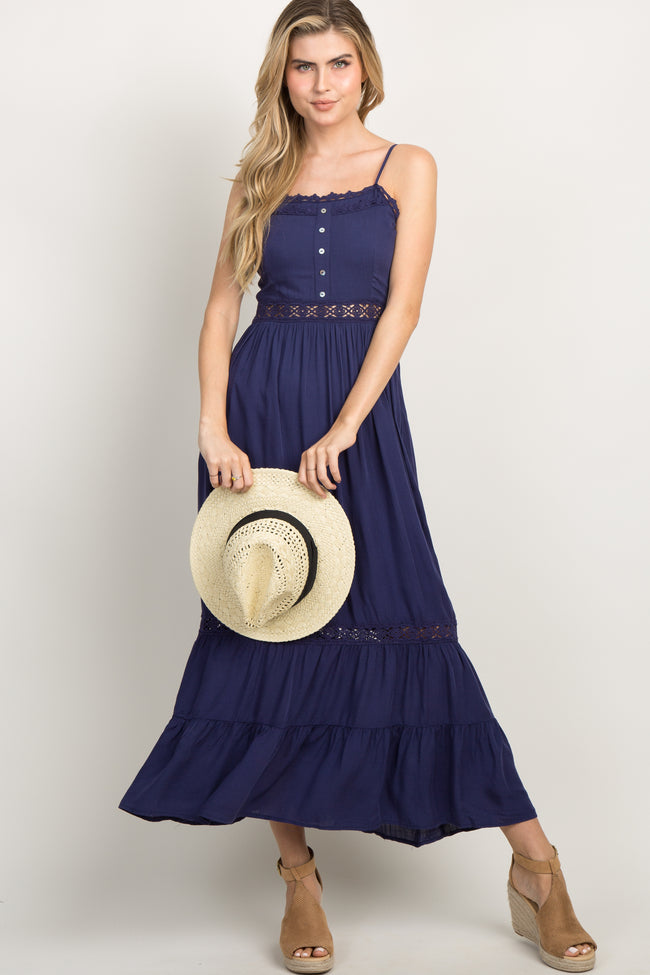 Navy Button Front Crochet Cami Maxi Dress